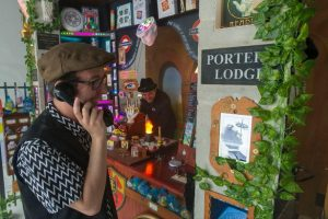Picture of Michael Brown and Matthew Taylor in front of the Porters' Lodge at LockHouse escape games