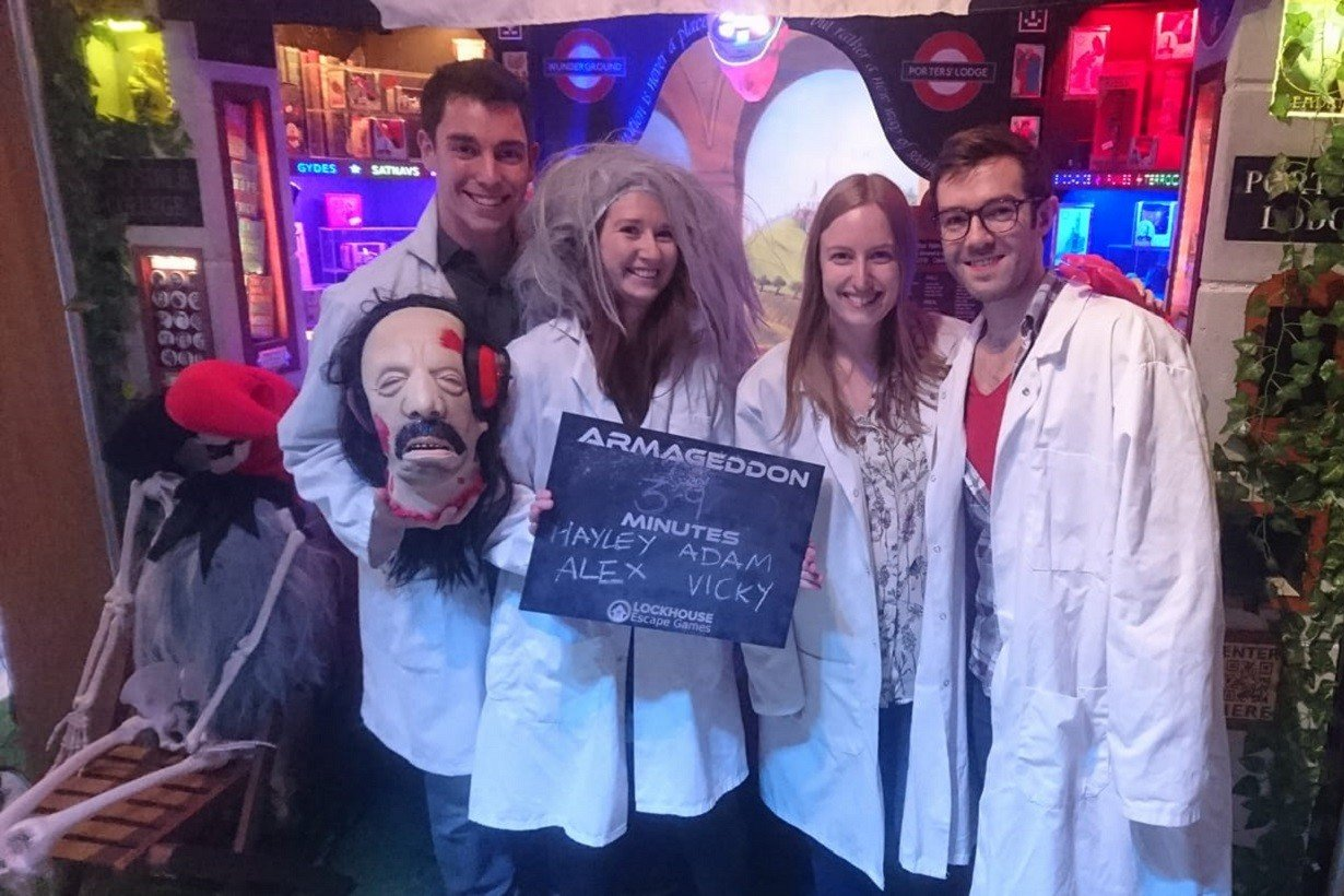 This brave 4-person team were able to beat the Halloween Armageddon room in 39 minutes