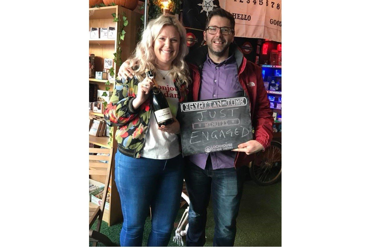 Our first engagement couple at LockHouse, he proposed as they opened the very last puzzle in Egyptian Tomb (and she said yes!)