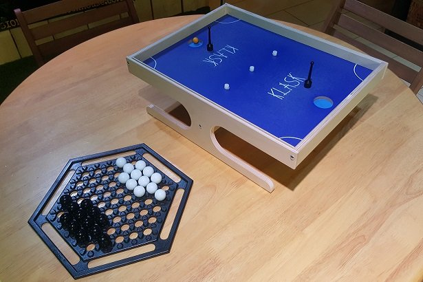 Abalone and Klask, part of our new range of tabletop games