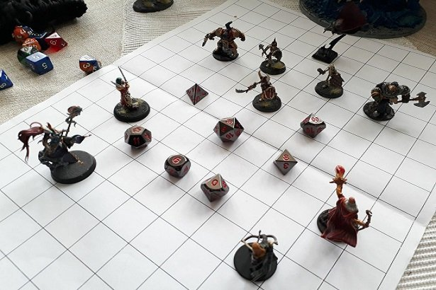 A group of adventurers face off against the forces of darkness, armed only with many sided dice