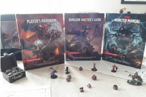 These books are from the 5th edition of Dungeons and Dragons, designed to be accessible for everyone to play