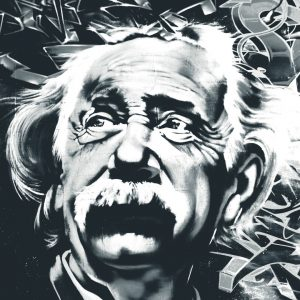 Black and white graffiti of Albert Einsteins face