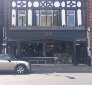 Front window display of the restaurant Novi on Regent Street