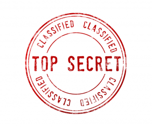 A circular red secret agent stamp that reads 'Top Secret: Classified'