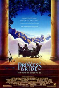 Theatrical release poster for The Princess Bride, showing a child being read to on the porch in front of a fantasy landscape backdrop