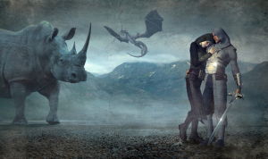 an image of a rhinoceros and two figures one wearing armor and the other wearing fantasy robes, with a background of a mountain range with a dragon floating above it