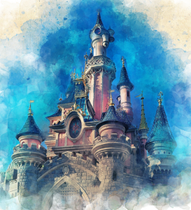 an illustration of a fantasy castle with many turrets with blue roofs in front of a swirly ink-like blue background