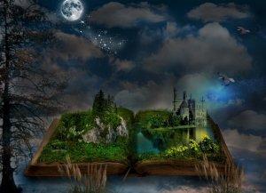 an open book with the pages transformed into a fantasy landscape with trees and a castle