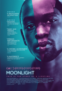 theatrical release poster for the film moonlight, showing a composite image of a black person's face from the ages of childhood to an adult man, lit in blue and purple light