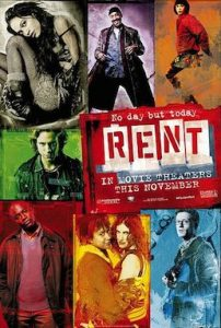 theatrical release poster for the film rent, showing the principle characters arranged in colourful blocky prints around the name of the film