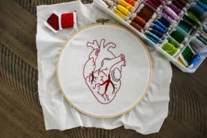 an embroidery hoop with an anatomically correct heart embroidered in red thread