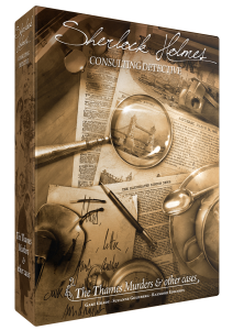 the box for the board game Sherlock Holmes Consulting Detective: The Thames Murders, showing a collection of papers and a magnifying glass