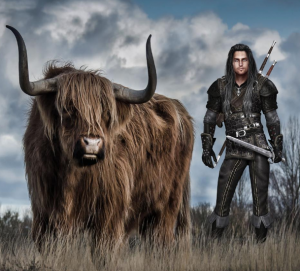 a warrior in leather armor stands next to a highland cow