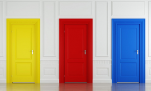 three doors in a row, one yellow, one red, and one blue