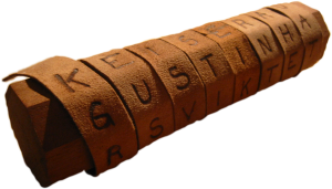 an ancient Greek scytale, a classical cipher tool consisting of a cylinder with a strip of parchment with letters written on it wrapped around it