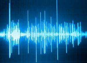 a blue audio wave