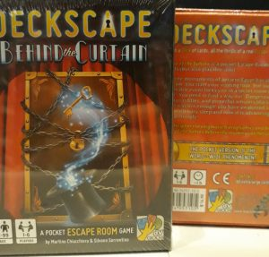 two copies of the escape room board game deckscape