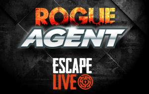 """text on a black background reading """"rogue agent"""" and """"escape live"""" with the escape live logo"""